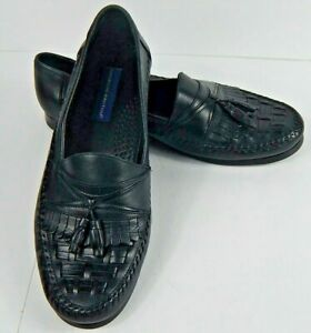 Giorgio Brutini Men's Bartell Black Leather Loafers Shoes Tassels Woven Sz 13 M