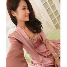 NEW Sexy Womens Silk Satin Pajamas 3pc Sleepwear&Robes Nightdress Nightgown P037