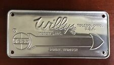 JEEP WILLYS Motors SERIAL NUMBER DATA PLATE, New Old Stock NOS Toledo OH