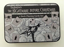 TIM BURTON'S NIGHTMARE BEFORE CHRISTMAS 2 DECK PLAYING CARDS SET IN TIN BOX NEW