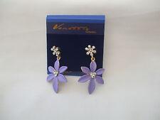 Clip On Matt Finish Flower Drop Earrings Stone Flower Top Choose Your Shade New