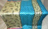 Pure silk Antique Vintage Sari HUCE LOT 4y T19 267 Cream Blue DECOR #ABDFB