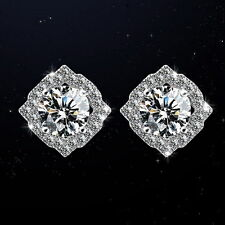 Silver Post Brilliant Cut Square Stud Earring Made With Swarovski Crystal IE26