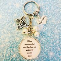 Wedding NEW SISTER IN LAW Keyring Keepsake Favour Gift ANY COLOUR Beads