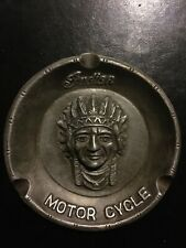 Indian Motorcycle Ash Tray Solid Metal +/- 3/4Lb! Vintage Style Patina Finish Vg
