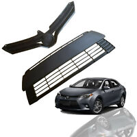 For 2014 2015 2016 Toyota Corolla L LE XLE Upper Lower Grille Combo 2pcs Black