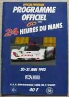 LE MANS 24 HOUR ENDURANCE CAR RACE 1992 Official Programme