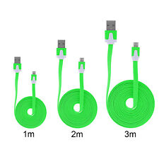 3in1 Micro USB Kabel Ladekabel 3m 2m 1m Datenkabel Samsung HTC Flachband Grün