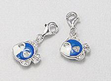 Solid Sterling Silver Enamel Blue Fish Charm Bracelet Pendant Necklace Lobster