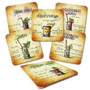 """Untersetzer 6-tlg.Set """"Cocktails"""" - Bar - Party - Drinks - Longdrink - Cocktail"""