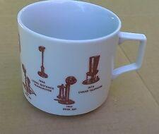 Vintage 1876 Liquid to 1926 Desk Set Phones Through The Years Coffe Cup Mug EUC