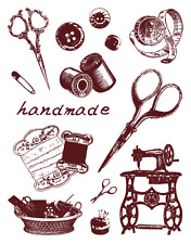 Clear Stamps Set Handmade Sewing Scissors 14 Individual Stamps (Unmounted) NEW