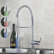 LED Pull Down Spout Spary Kitchen Sink Basin Chrome Faucet Mixer Swivel Taps