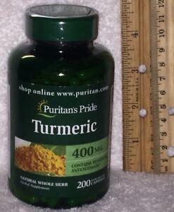 LARGE Whole Herb Turmeric (Puritan's Pride), 200 capsules.  400 mg per capsule.