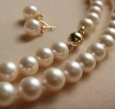 7-8MM AAA White Akoya Round Pearl Necklace + Earring 14K