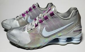 Nike Womens Shox Avenue SE Metallic silver, purple and blue size 6.5