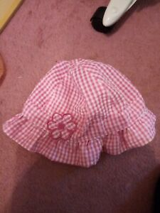 Girls Pink And White Summer Hat 48cm (1 Year) VGC