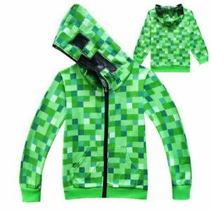 1X Minecraft Creeper Kids Boys Youth Hoodie Zip Coat Sweater Jacket green Top