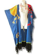 CD217 Blue Batik Plus Size Maxi Cardigan Kaftan Duster Jacket - 2X, 3X, 4X & 5X