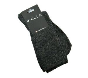 B. Ella Ladies 82% CASHMERE Crew Socks Ultimo Charcoal Marl - NEW