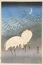 Japanese Print Reproductions: Herons in the Moonlight- Fine Art Print