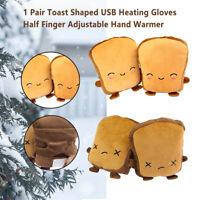 Toast Shaped USB Heating Gloves Cute Half Finger Adjustable Hand Warmer