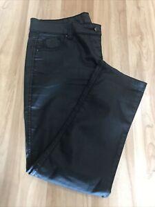 """Yes Ladies Trousers Size 16  skinny Black Wet Look waist 36"""" VG"""