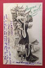 CPA. 1903. Joyeux Noël. Arbre de Noël. Cheval à Bascule. Cadeaux. Tambour. Mère