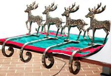 4 VINTAGE SILVER PLATE REINDEER CHRISTMAS STOCKING HOLDER HANGERS LONG HOOKS