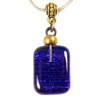 "DICHROIC PENDANT Fused Glass Cobalt Blue Navy Striped Stripes Gold 3/4"" 20mm"