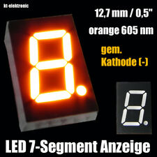 "10 Stück LED 7-Segment Ziffernanzeige 12,7mm 0,5"" orange 605nm gem. Kathode (-)"