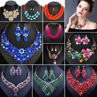 Fashion Rhinestone Bib Choker Pendant Crystal Statement Necklace Women Jewelry