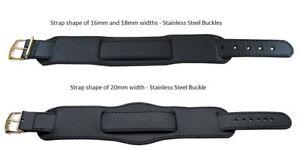 Premium Genuine Leather Military Army Bund Watch Strap Black Brown 16/18/20mm