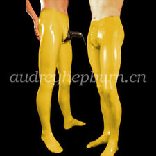 Latex Rubber Fetish Men Sexy Pants With Sheath Trousers Size XXS-XXL