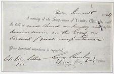 1824 TRINITY CHURCH BOSTON DOCUMENT MANUSCRIPT ~ A MEETING OF GREAT IMPORTANCE