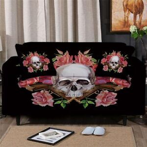 Pink Gun Rose Skull Sofa Couch Chair Cushion Stretch Cover Slipcover Set Decor