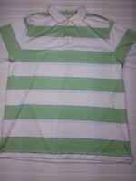 Nike Golf Polo Dri-Fit men's size large white green striped short sleeve Q25
