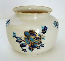 "Lenox ""Pagoda"" Blue/Gold Floral Round Porcelain Vase Planter Hand Decorated USA"