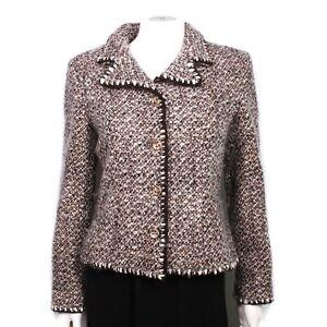 Chanel - 2001 Tweed Blazer Jacket - Brown White Wool CC Button 01A - US 8 - 40
