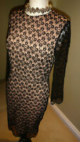 Gok Wan Black Quality Lace Pencil Dress, Size UK 10