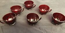 6 Vintage Ruby Red Glass Coffee Tea Cups In Excellent Condition