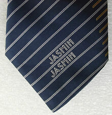 Jasmin Airlines tie Corporate silk tie with logo Navy blue gold white stripes