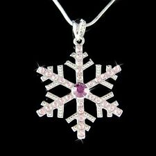 Big w Swarovski Crystal ~Purple SNOWFLAKE Snow Xmas Wedding Pendant Necklace New