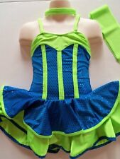 COMPETITION ICE SKATING DRESS Figure Skate Ballet Dance Sparkly Teal & Lime S