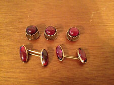 Vintage Antique Gold 10 or 14 Karat Garnet Tuxedo Cuff Links Set w/ S Mark