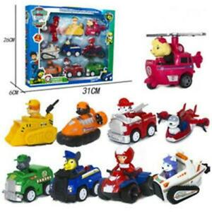 9Pcs/Set Paw Patrol Puppy Dog Racer Car Action Figures Toys Kids Birthday Gifts