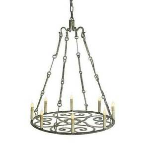 1 Tier Medallion Rain Chain Rusty Hand Forged Candle Wrought Iron Chandelier