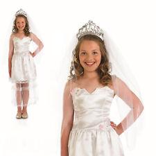 Girls Wedding Dress Bride Fancy Dress Costume Dress Up Outfit & Tiara 8-10 NEW