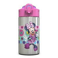 Zak Disney Minnie Mouse Stainless Steel 15.5oz Kids Water Bottle and Spout Cover