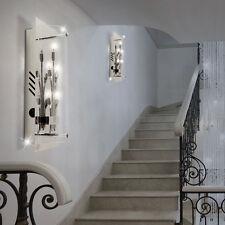 2er Set Design Wand Lampe Chrom inkl. Osram Licht Glas Wohn Ess Flur Zimmer WOFI